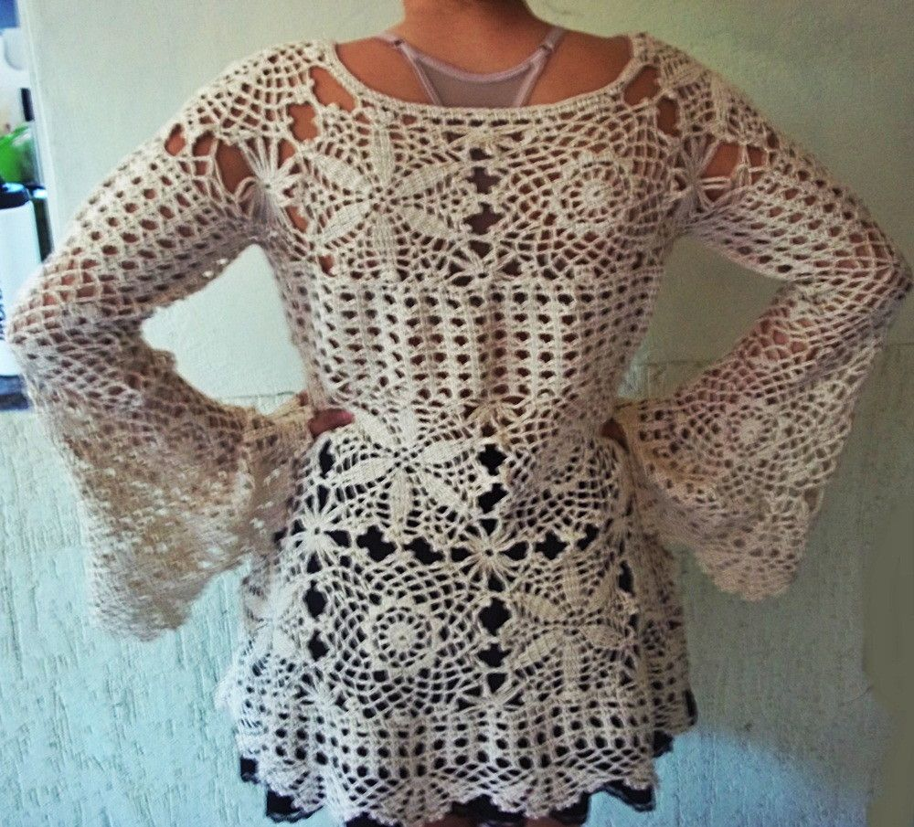 7431354ea Blusa Bata de manga longa de crochê com linha 100% algodão igual da Selena