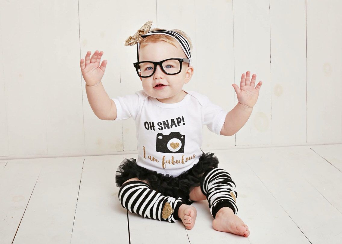 Baby Girl Clothes Black Gold Glitter Oh Snap I Am Fabulous Gold