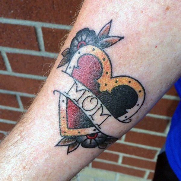 50 Traditional Heart Tattoo Designs For Men Devotion Ink Ideas Traditional Heart Tattoos Mom Heart Tattoo Tattoo Designs Men