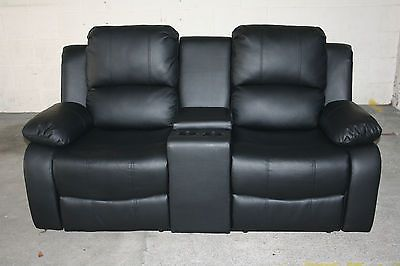 NEW LUXURY MIAMI 2 SEATER RECLINER SOFA WITH CINEMA CONSOLE ...