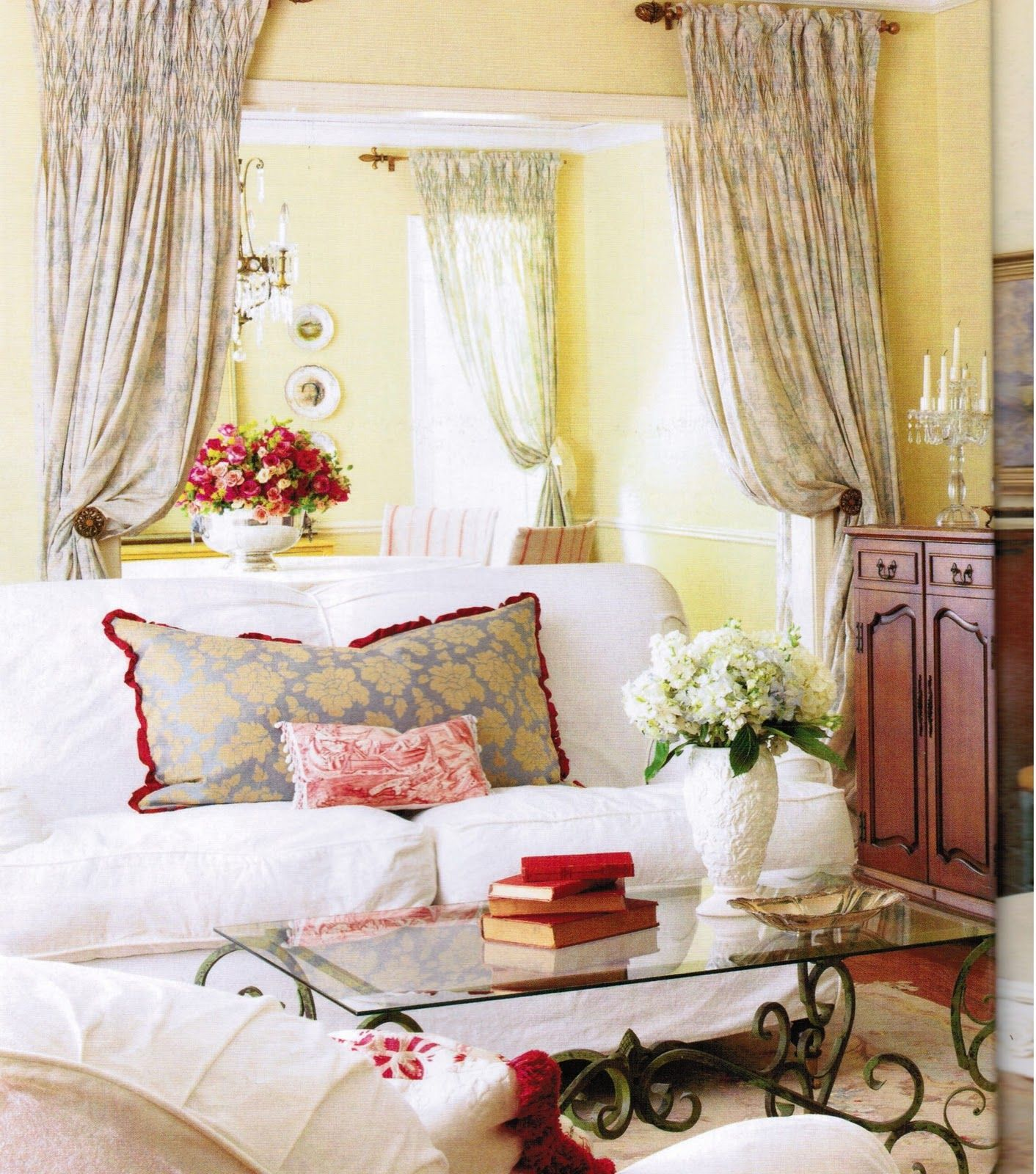 French Country Enchanting Yellow White Antique decor French