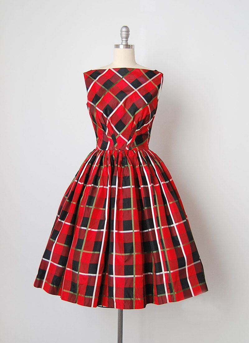 1bcf826fd Vintage 1950s red plaid taffeta dress. Sleeveless and unlined with fitted  bodice and waist with seamed design on front waist. Gathered full skirt,