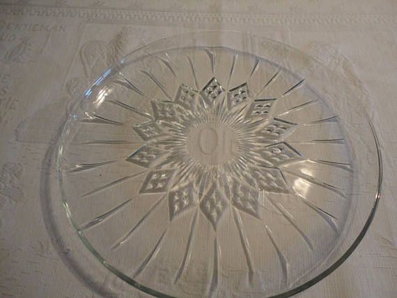 Diamond Point Pressed Glass Vintage Serving Platter Cake Plate