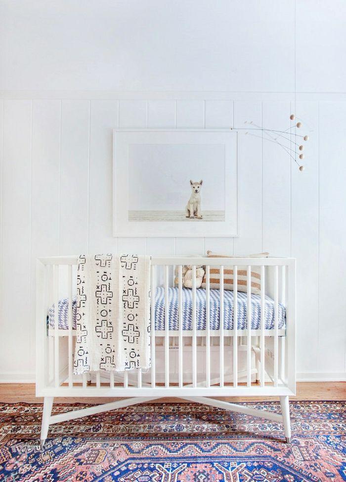 wandfarbe weiß wandgestaltung kinderzimmer babyzimmer babybett - wandgestaltung babyzimmer