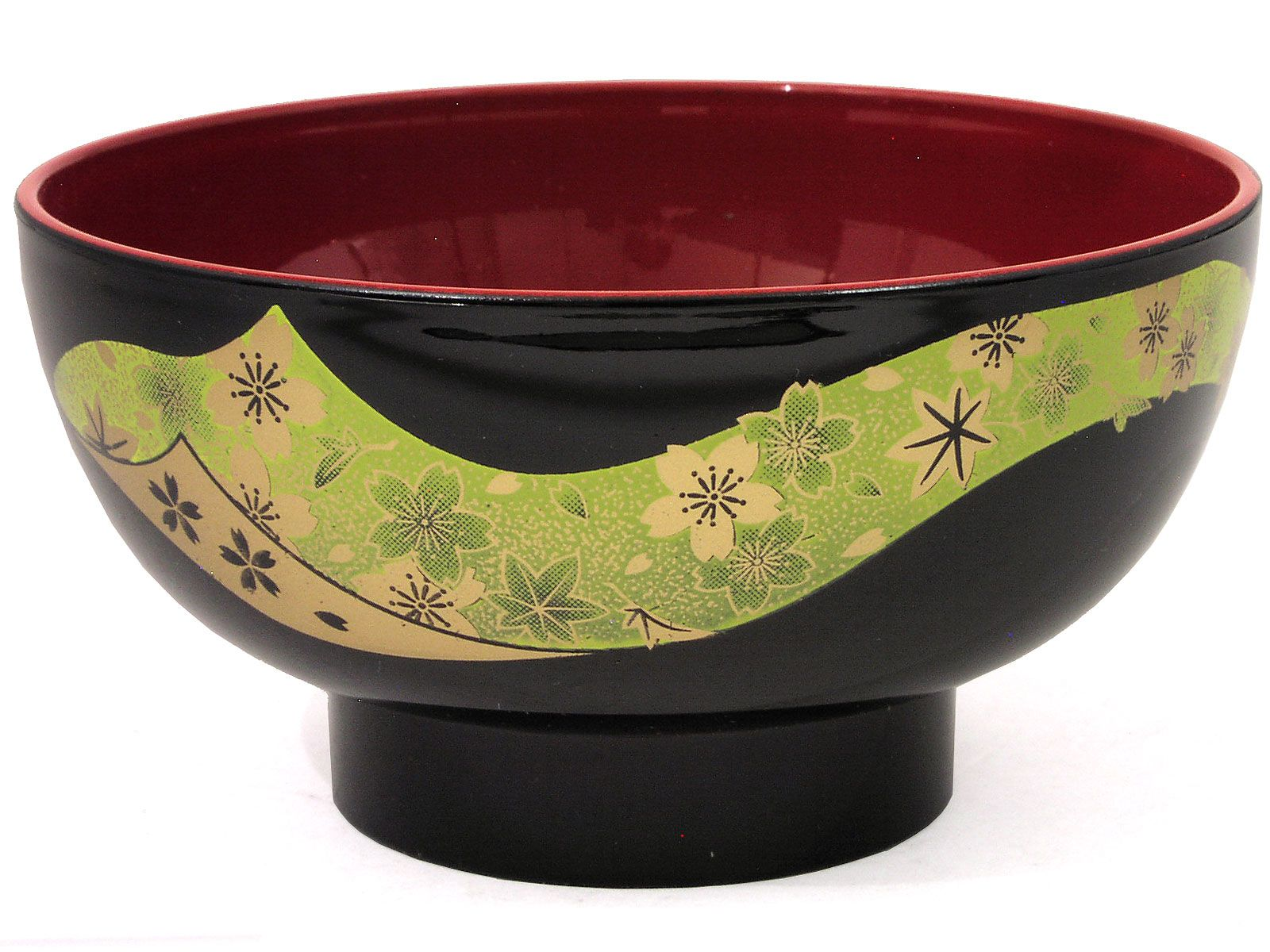 Lacquered Black Green and Gold Cherry Blossom Bowl