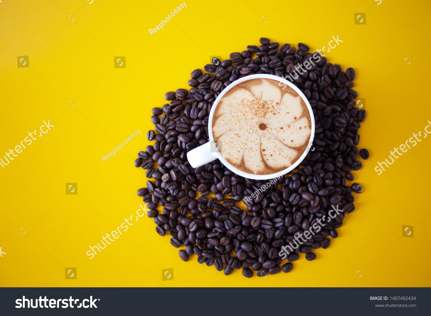 Roasted Coffee Beans Placed On An Old Yellow Wooden Floor Top View Coffee Cup For Background Concept Ingredie In 2020 Roasted Coffee Beans Coffee Beans Breakfast Drink