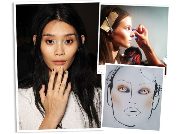 Looks we loved backstage: rave-inspired glitter on the eyes at ICB by Prabal Gurung #MAC #NYFW