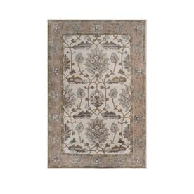 Allen Roth Rectangular Cream Fl Hand Hooked Wool Area Rug Common 9