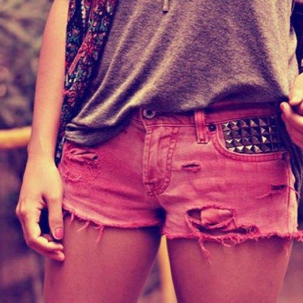 studded pink shorts
