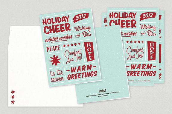 Retro Wishes Holiday Greeting Card Template - A retro-inspired - greeting card template