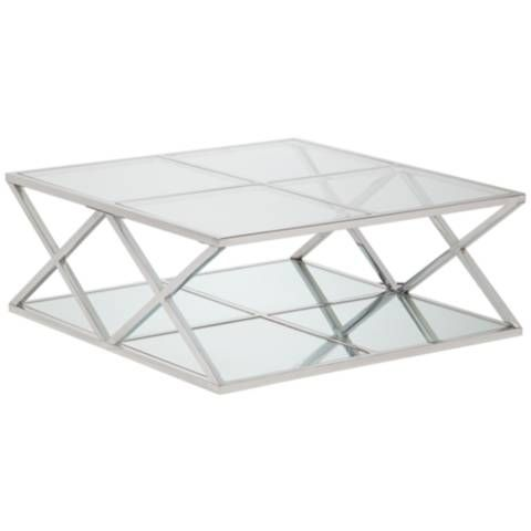 Skylar Square Metal Coffee Table with Mirror Top