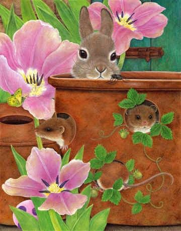 How Adorable this painting of Ann Mortimer is bring in some small critters, Art of Ann Mortimer