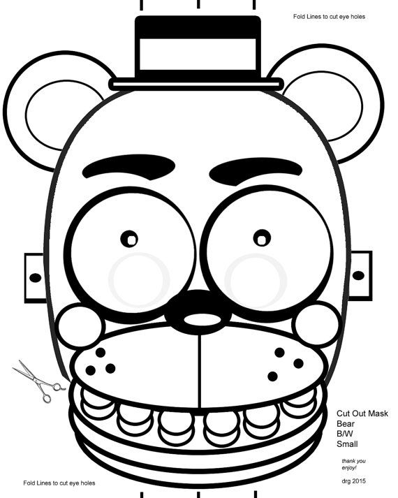 picture about Five Nights at Freddy's Printable Mask referred to as 5 Evenings at Freddys FNAF B/W Coloring Masks through