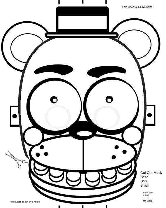 Five Nights At Freddy S Fnaf B W Coloring Masks By Rockitfishray