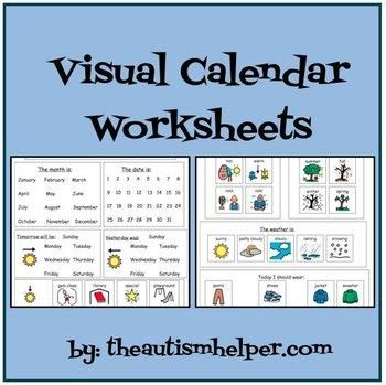 Calendar tasks for children with autism or special needs sometimes need to be adapted. These students may benefit from work that is more hands on and visual. These materials could be used to make a modified circle time/morning time binder for your student to work on during calendar activities. Many of these activities are accessible by students who are nonverbal or with low level writing abilities. by theautismhelper.com
