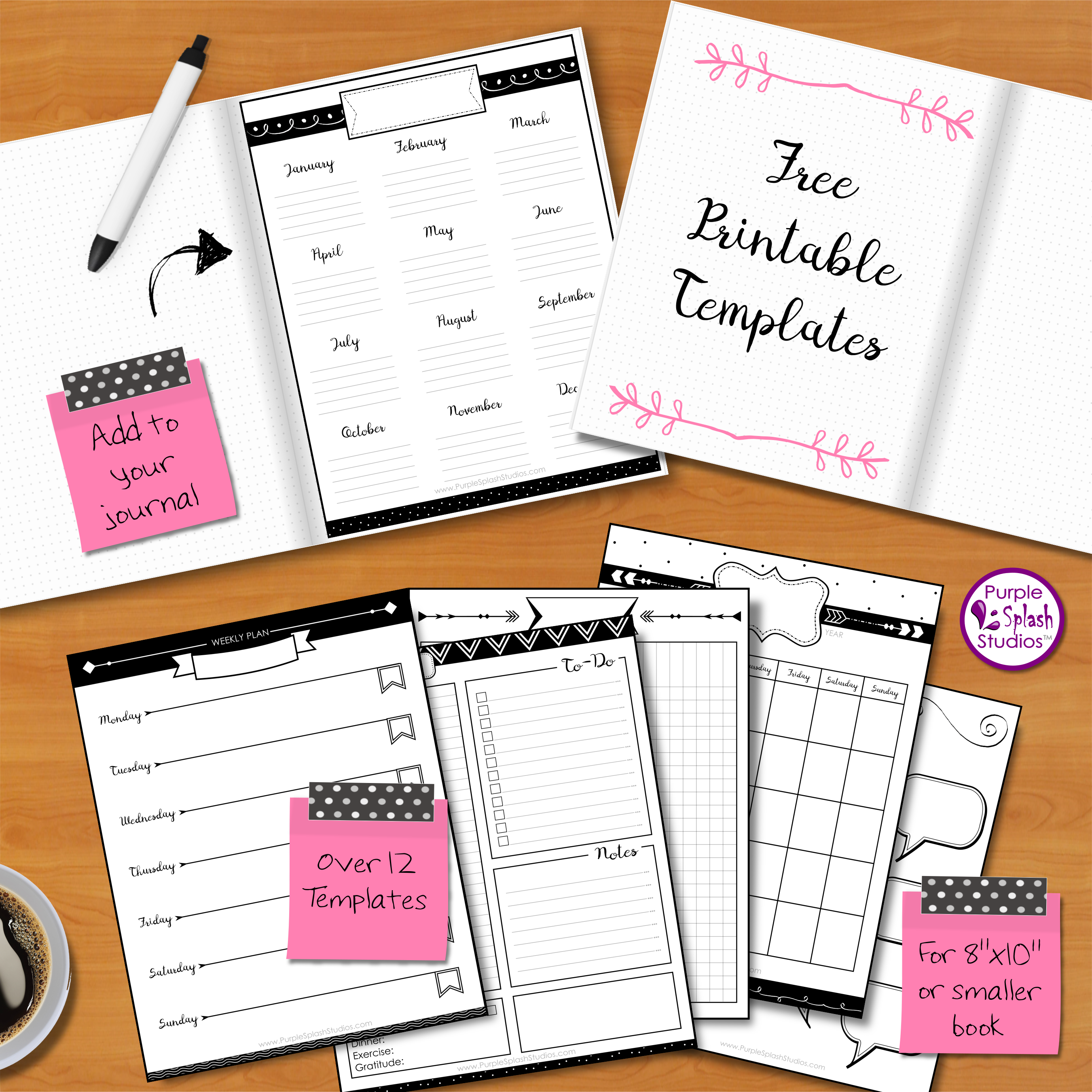 Free Printable Bullet Journal Templates. Over 12 layouts including ...