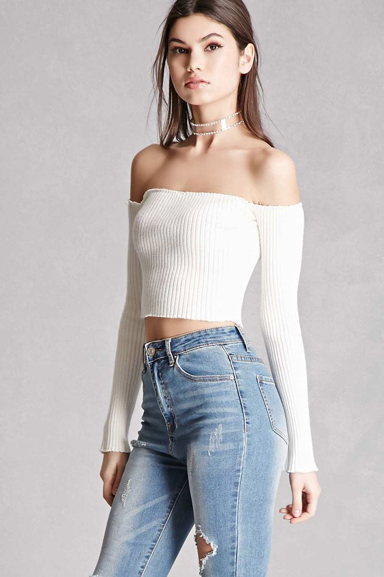 35335bb336224f A chunky ribbed knit crop top featuring an off-the-shoulder neckline ...
