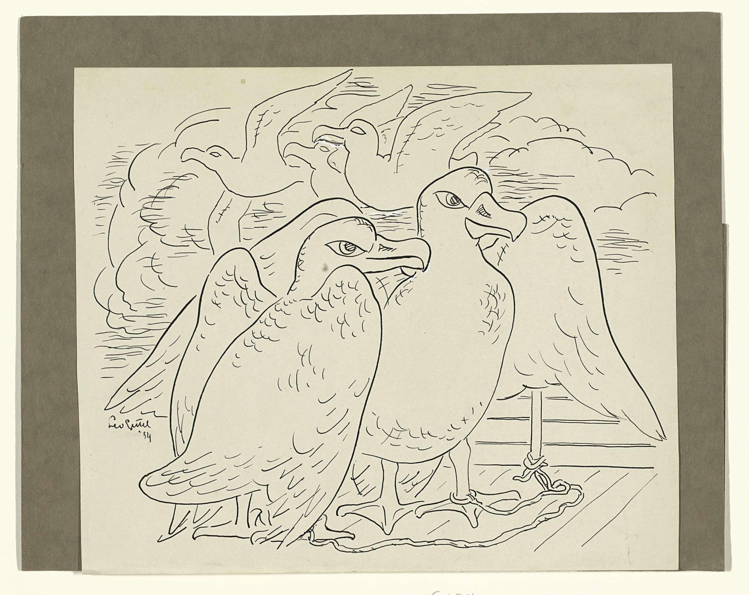 Leo Gestel | Tekening voor Baudelaire's 'L'Albatros', Leo Gestel, 1891 - 1941 | Ontwerp voor een prent.