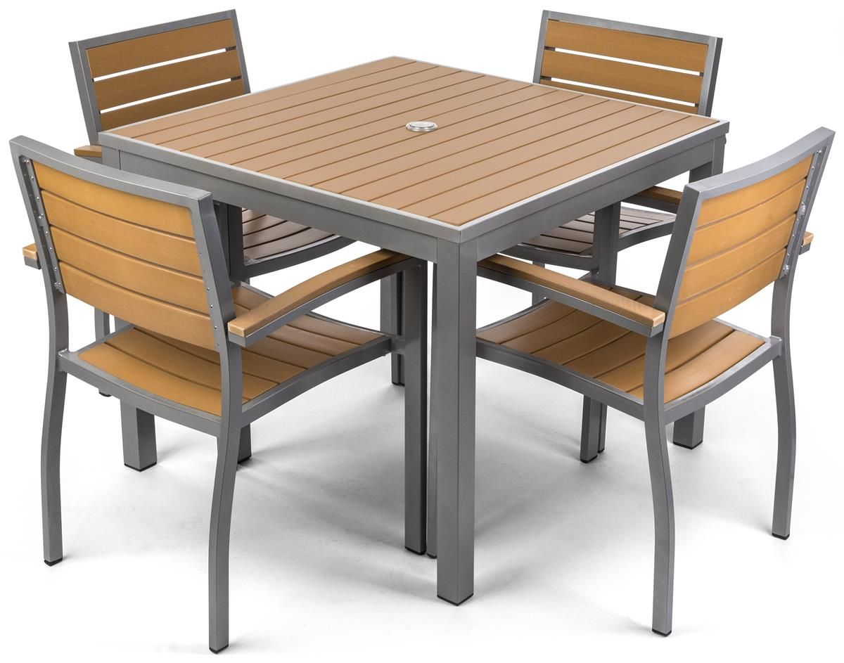 Outdoor Dining Table Set W 29 5 H Square Faux Teak Tabletop 4 Seats Outdoor Dining Table Setting Teak Patio Table Patio Table Set