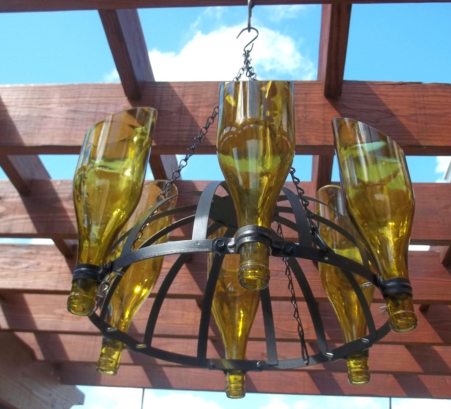 Outdoor Yellow Wine Bottle Candle Chandelier