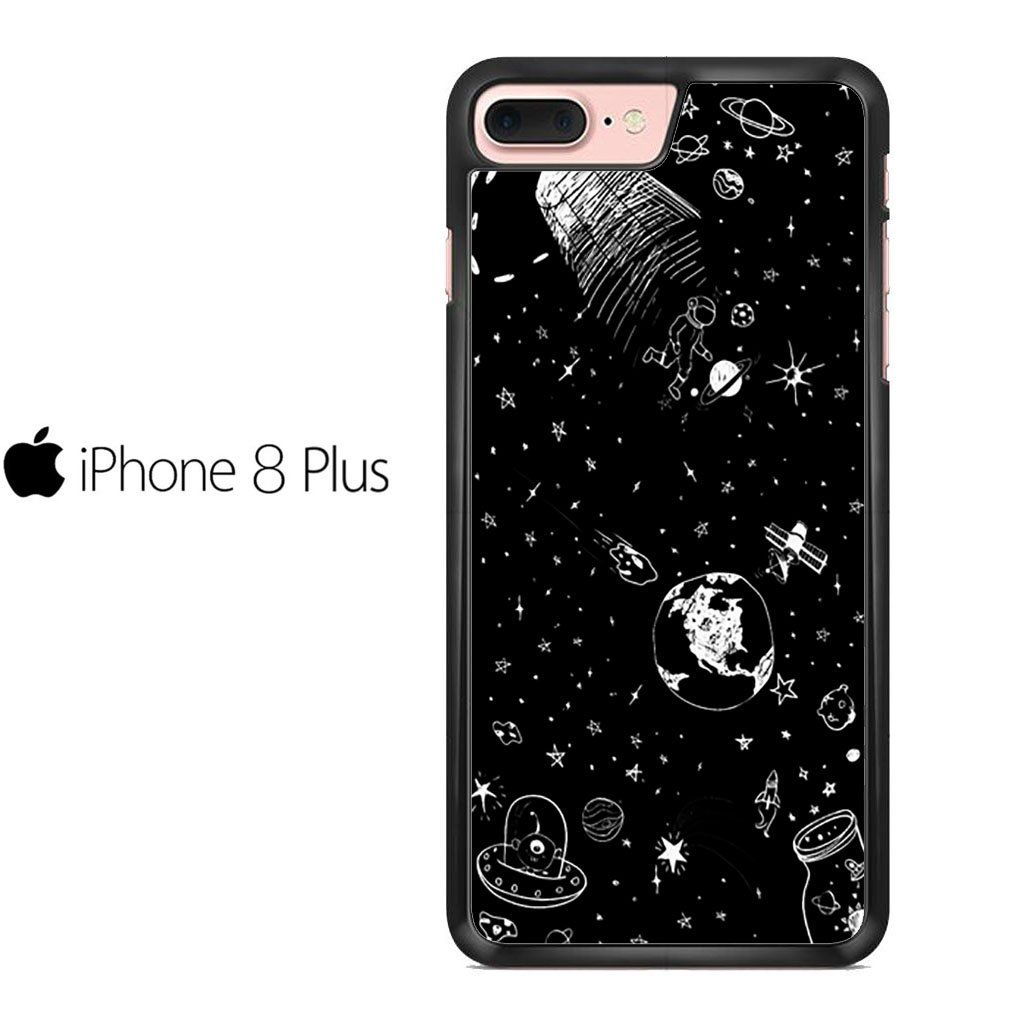 Space Drawing Black And White For Iphone 8 Plus Case