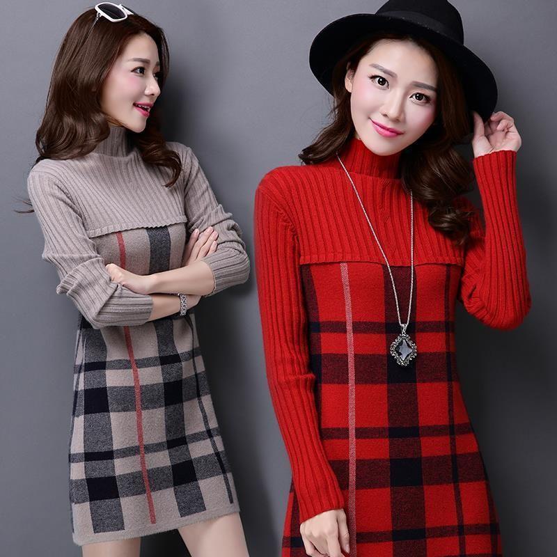 new shitsuke knitting sweater dress Autumn Korean fashion temperament v-neck