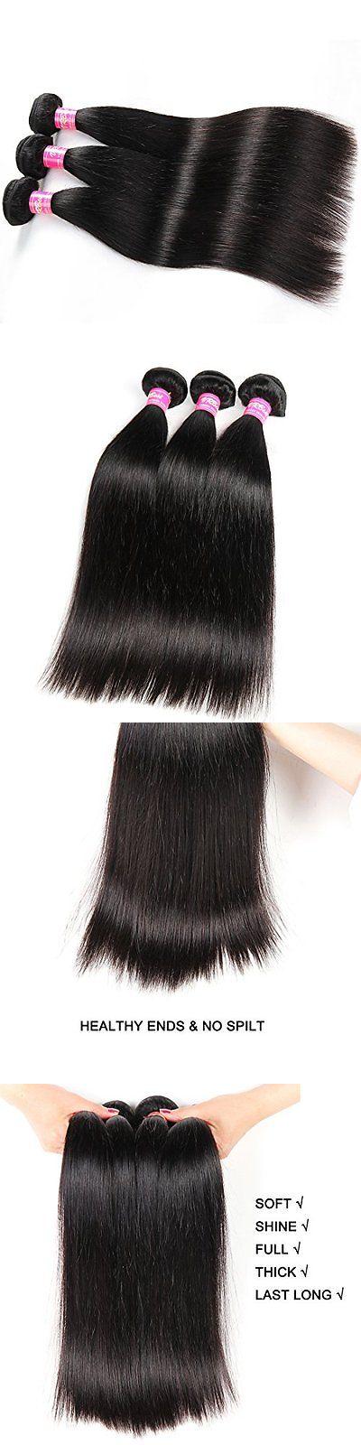 Hair Extensions Hair Virgin Straight Human Extensions 3 Bundles