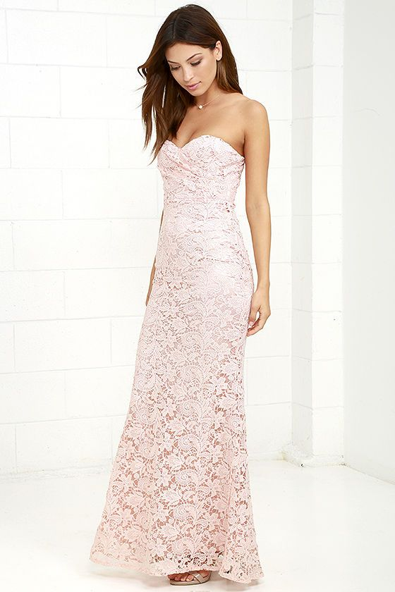 Inherent Beauty Blush Pink Lace Strapless Maxi Dress ...