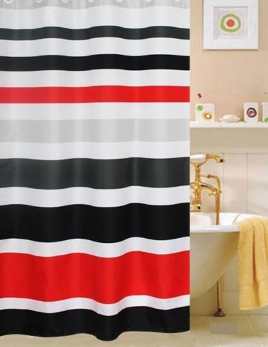 Fabric Shower Curtain Multi Color Striped Red White Black Red