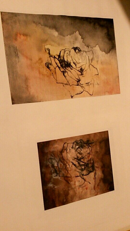 Some of my work from 2014, Watercolour backgrounds with monoprint roses on top. Artist - Ashley Sarjantson
