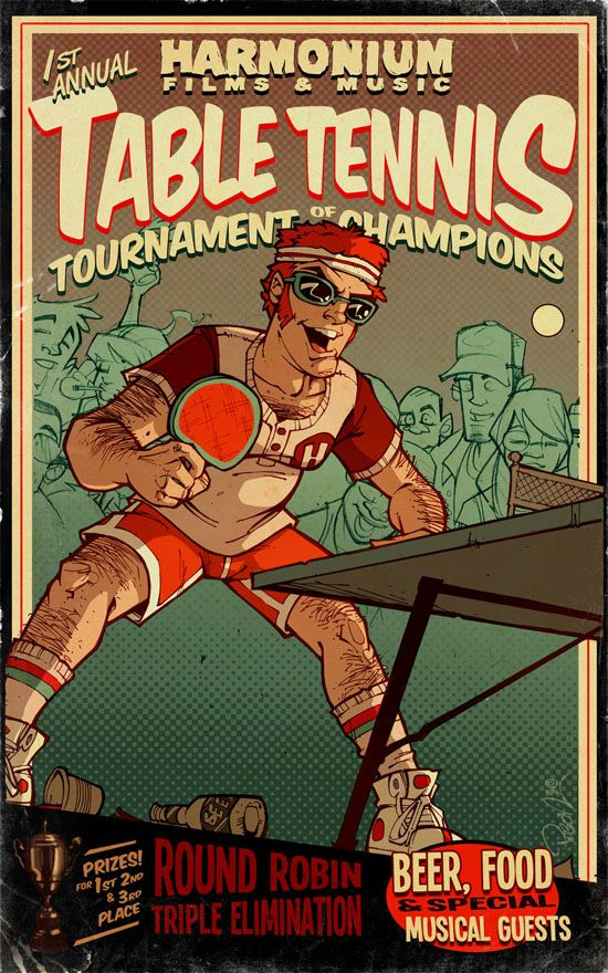 Table Tennis Room Design: Cartoon Illustrations Posters In 2019