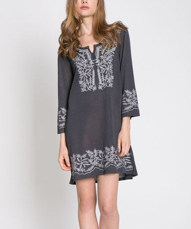 $36.99 Look what I found on #zulily! Charcoal Embroidered Shift Dress #zulilyfinds