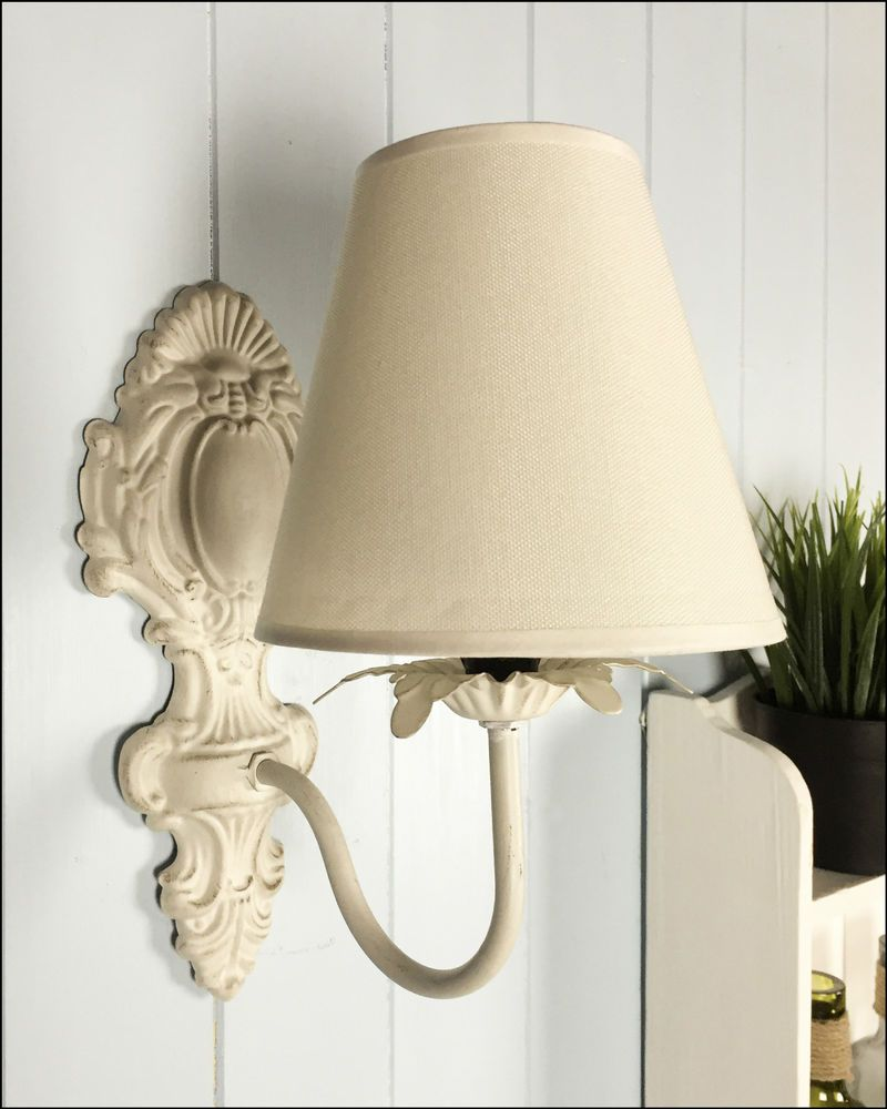New Vintage Style Ivory Cream Wall Light Lampshade Shabby Chic French Ornate