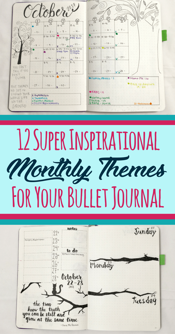 12 Inspirational Bullet Journal Monthly Theme Ideas | Journaling ...