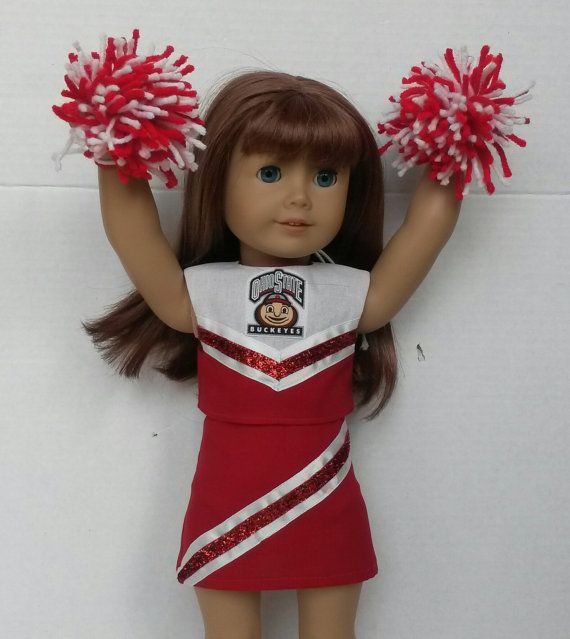 Doll Clothes fits American Girl Doll or 18 Dolls Ohio State Buckeyes Cheerleader Outfit #18inchcheerleaderclothes