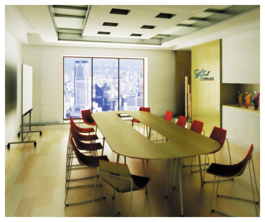 office room interior design photos. modern office meeting room design with oval table red chairs laminate flooring and wide glass window interior photos e