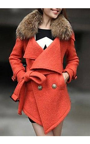 Womens Long Wool Woolen Cloth Coat with Raccoon Fur Collar