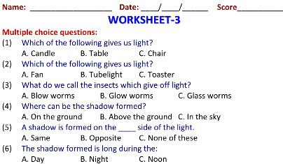 Light And Shadow Worksheets For Grade 2 Science Kids 2nd Grade