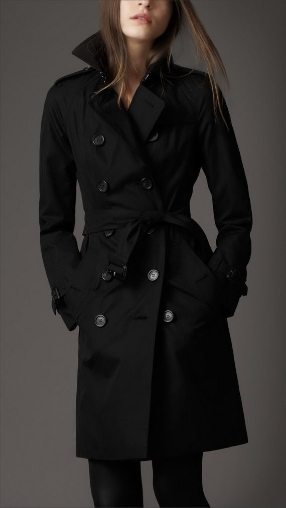 Women's Natural Wool Cashmere Trench Coat - Black Trench coat for ...