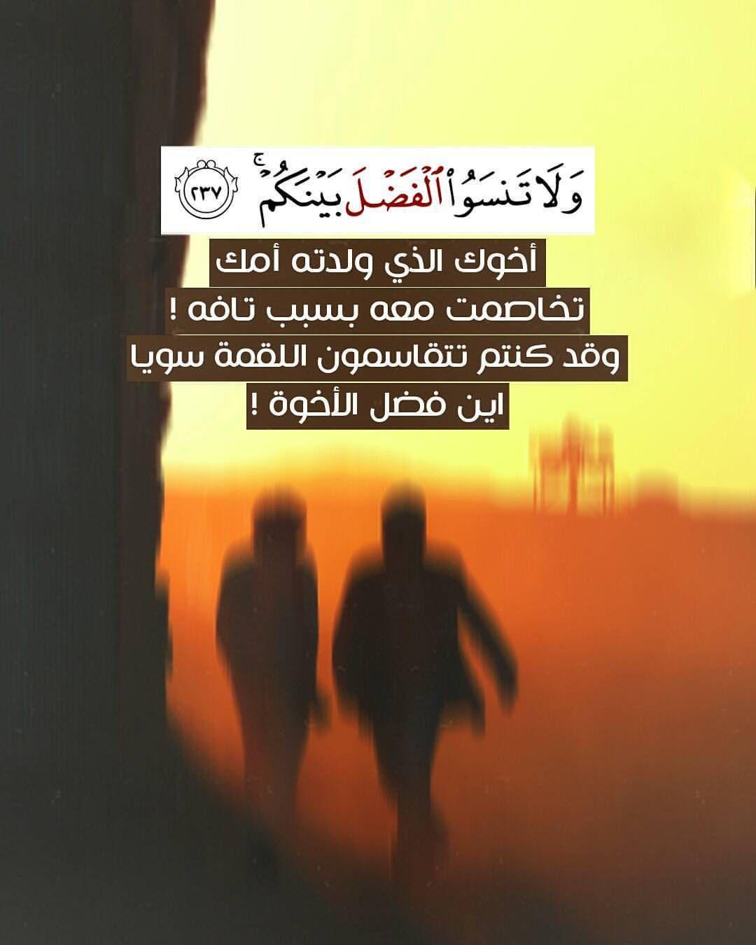 و ل ا ت نس و ا ال ف ض ل ب ي ن ك م 237 الآية من سورة هود أخوك الذي ولدته أمك تخاصمت معه بسبب تافه وقد ك Quran Quotes Islamic Quotes Quran Quran Verses
