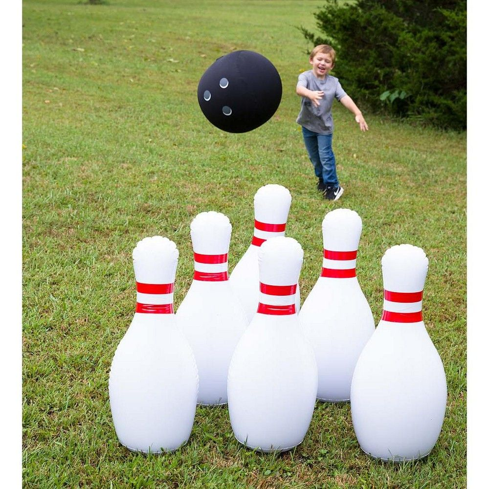 Hearthsong Kids Giant Indoor Outdoor Inflatable Bowling Game With 29 H Pins And 20 Diam Ball For Kids Bowling Games For Kids Bowling Games Outdoor Inflatables