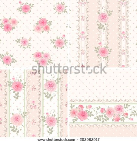 Shabby Chic Wallpaper Border | Seamless floral background and borders. Set of shabby chic style ...