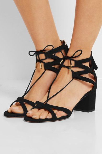 a42cb7b8441 AQUAZZURA Beverly Hills beautiful black suede sandals | shoes ...