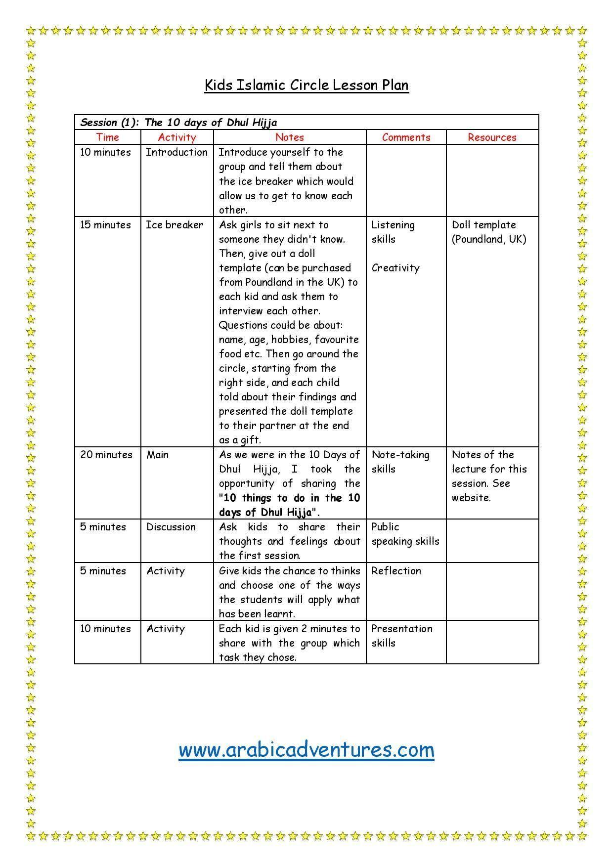Kids Halaqa Lesson Plan Free Download At