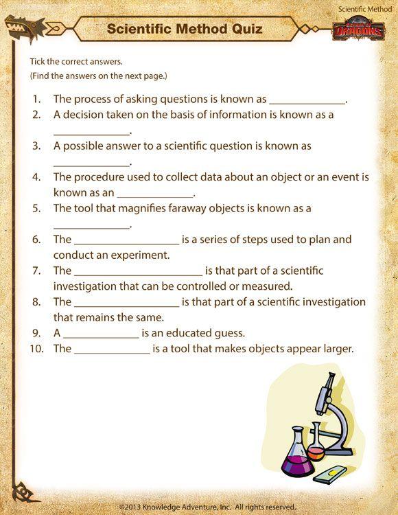 Scientific Method Quiz - Printable Scientific Method ...