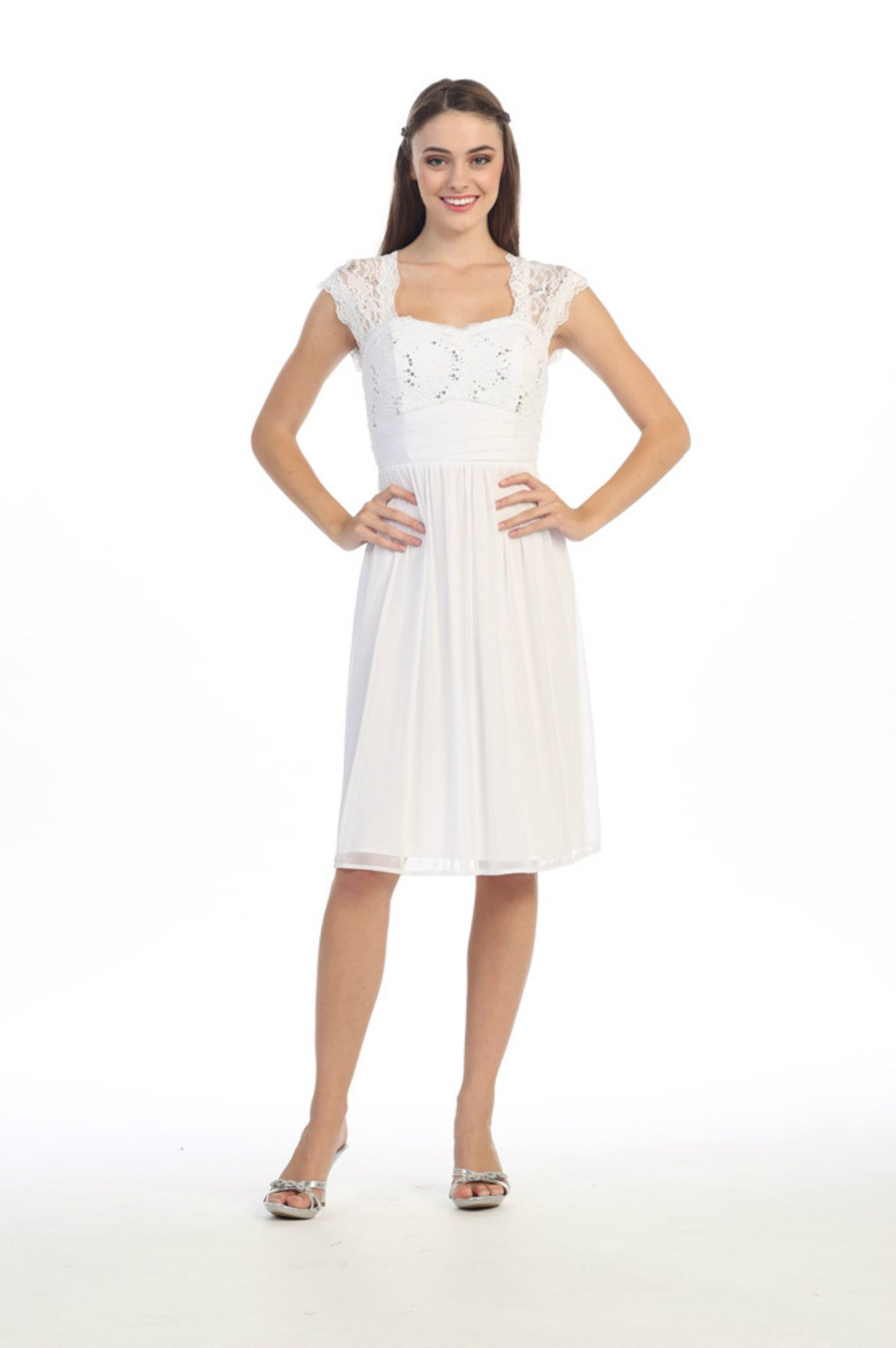 Elegant Plus Size Short Sleeve Lace Chiffon Cocktail Dress Evening Party