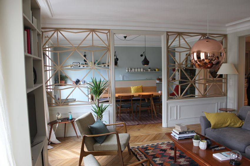 r novation appartement claustra vue du salon hall d 39 entr e pinterest verriere bois. Black Bedroom Furniture Sets. Home Design Ideas