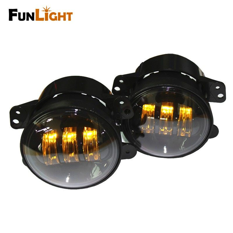 Funlight 1 Pair 4 Inch 30w Round Yellow Light Led Front Fog Lamp