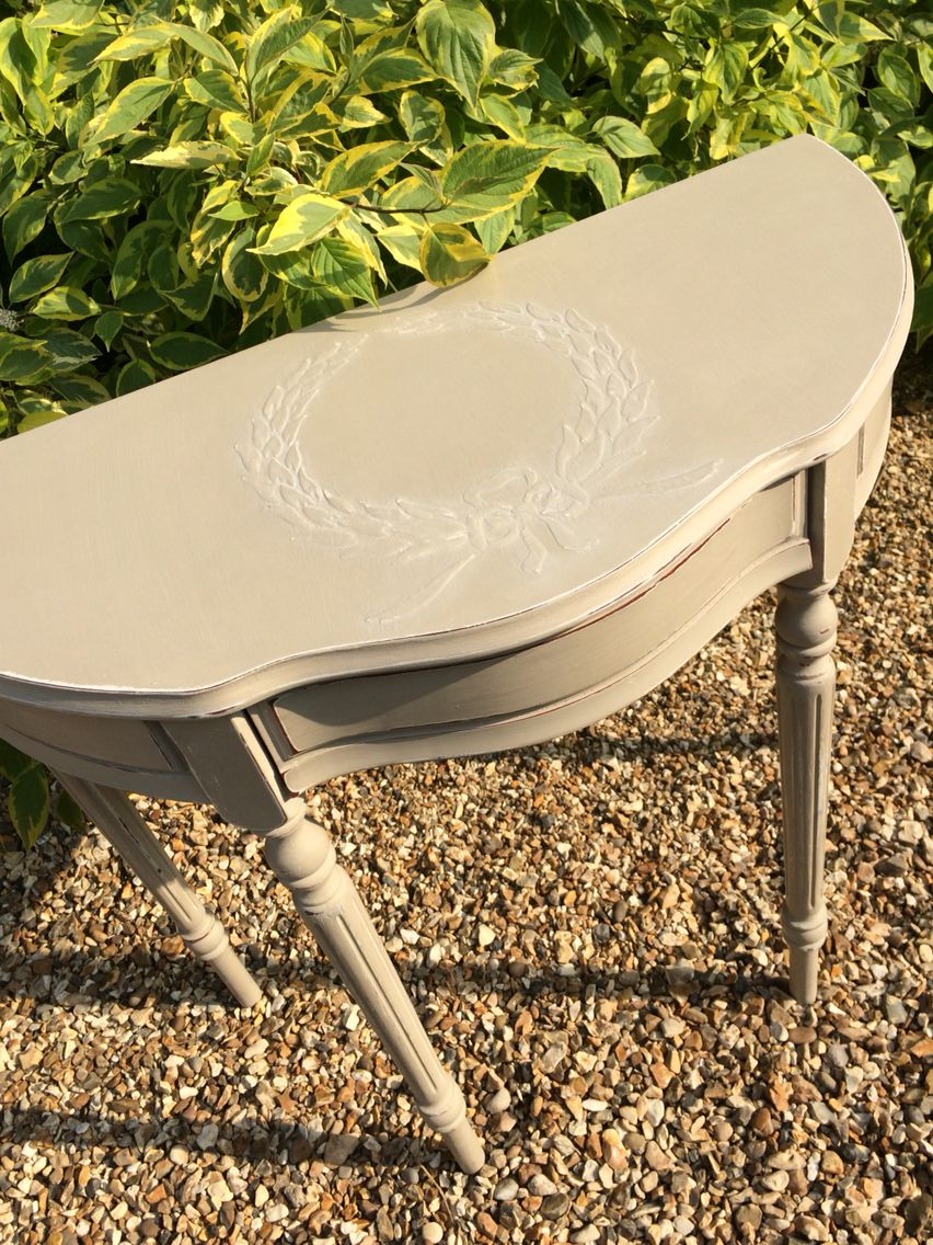 Raised motif console table painted in annie sloan country grey raised motif console table painted in annie sloan country grey with white wax available from geotapseo Choice Image