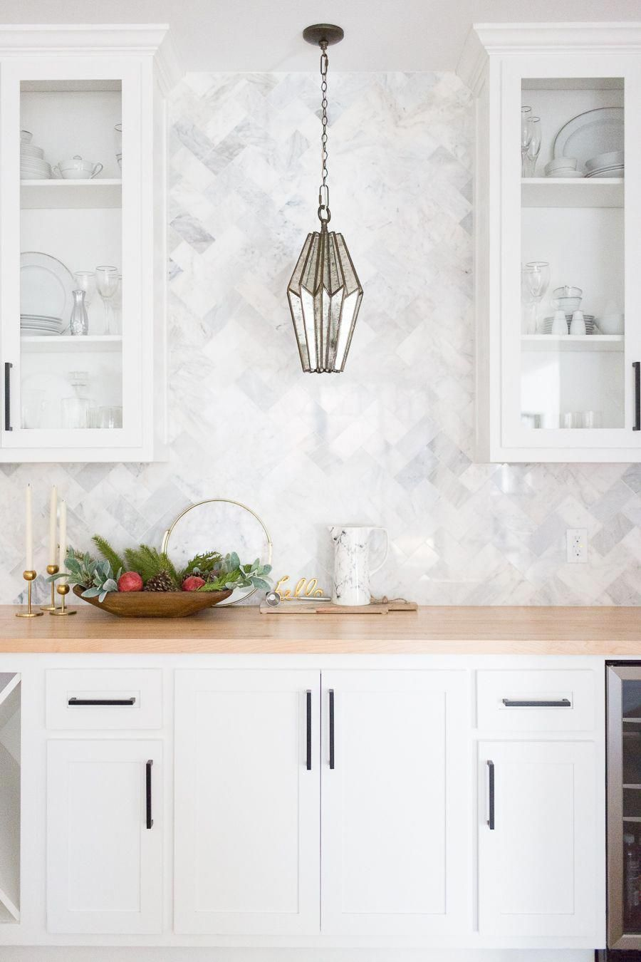 Tulsa Remodel Reveal Modern White Farmhouse With Black Windows And Doors Marble Herringb Kitchen Marble Kitchen Tiles Backsplash Backsplash For White Cabinets